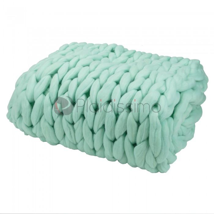 plaid en grosses mailles vert d 39 eau 100 laine m rinos d. Black Bedroom Furniture Sets. Home Design Ideas