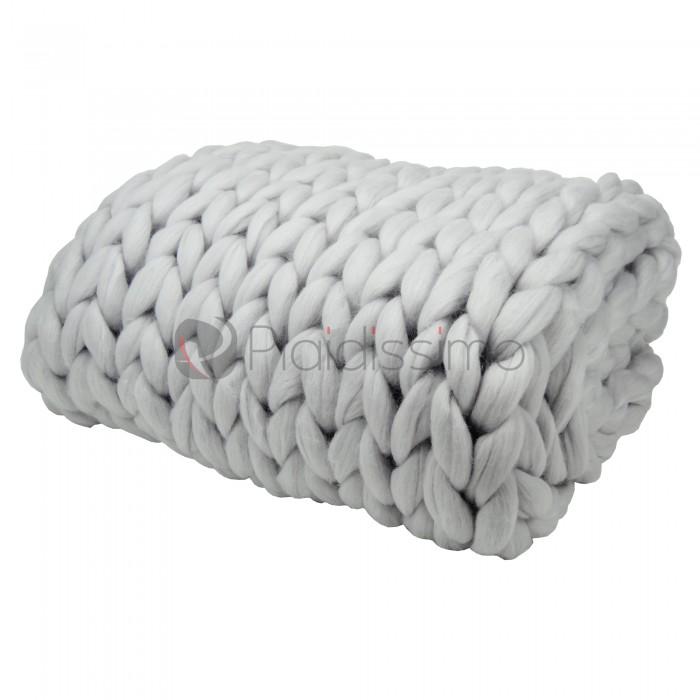 plaid en grosses mailles gris clair 100 laine m rinos d 39 australie. Black Bedroom Furniture Sets. Home Design Ideas
