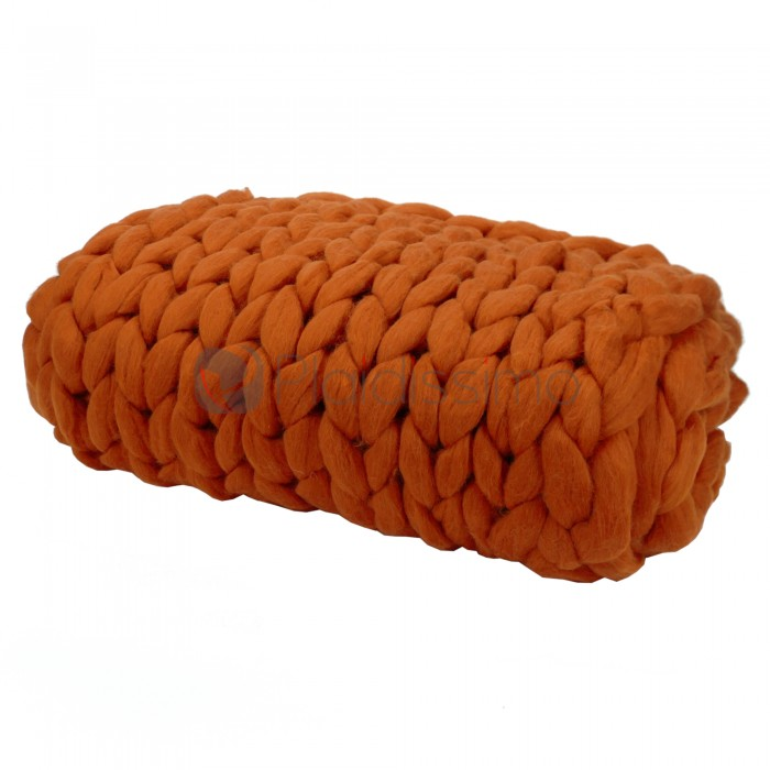 plaid en grosses mailles orange 100 laine m rinos d 39 australie. Black Bedroom Furniture Sets. Home Design Ideas