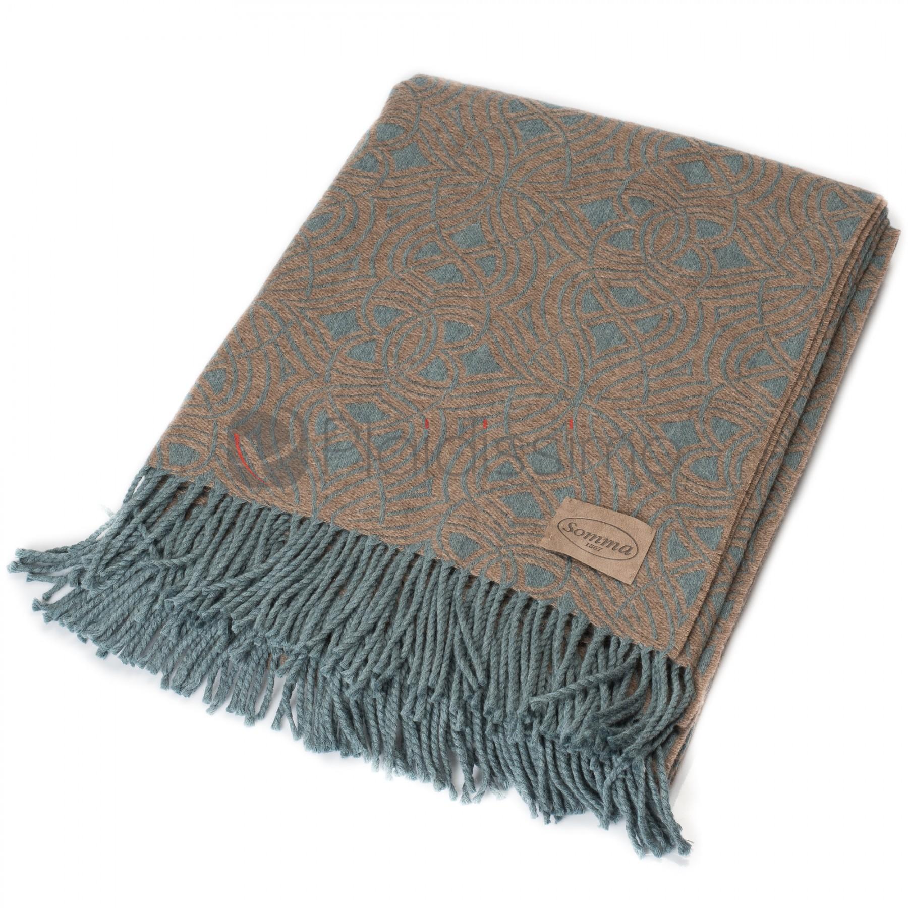 plaid en laine m rinos extra fine bicolore motif g om triques deco. Black Bedroom Furniture Sets. Home Design Ideas