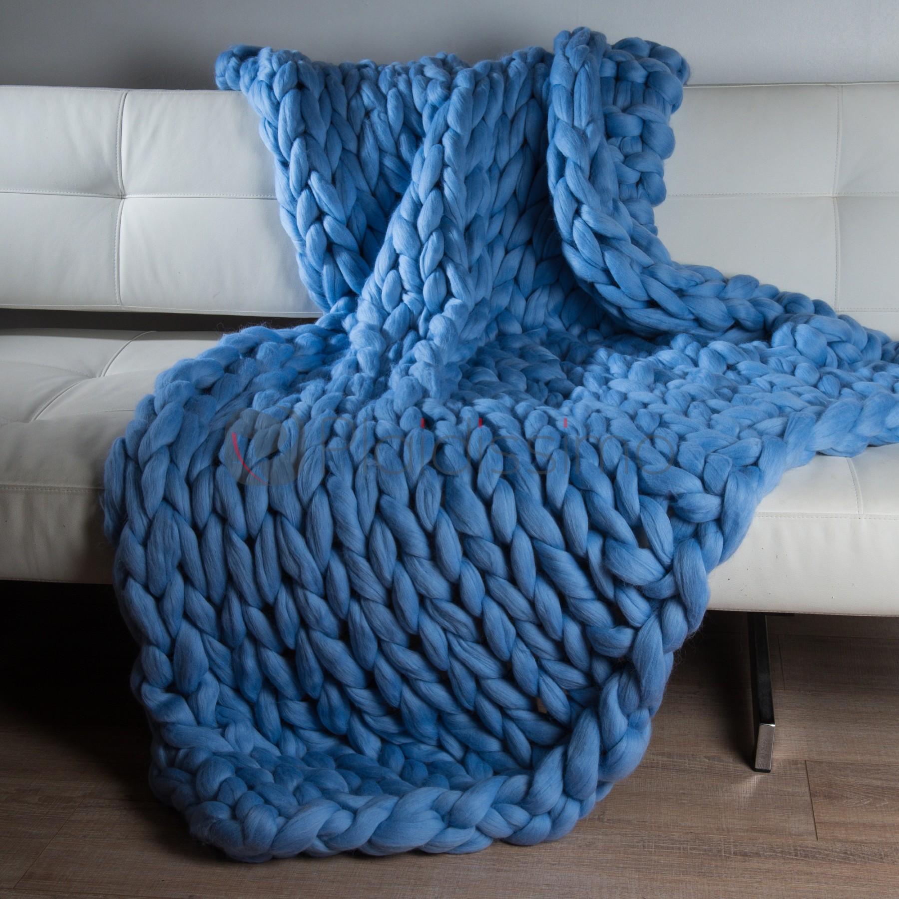 Plaid En Grosses Mailles Bleu 100 Laine Merinos D Australie