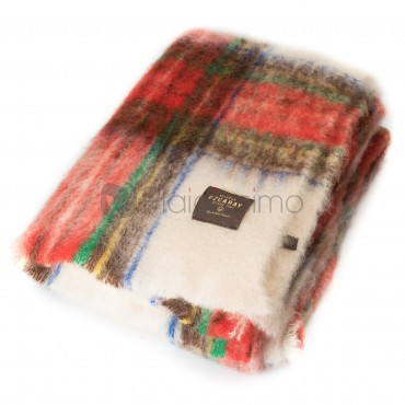 Plaid Multicolore Rouge et Blanc en Mohair · Epais au Design Traditionnel · Tartan par Mantas Ezcaray