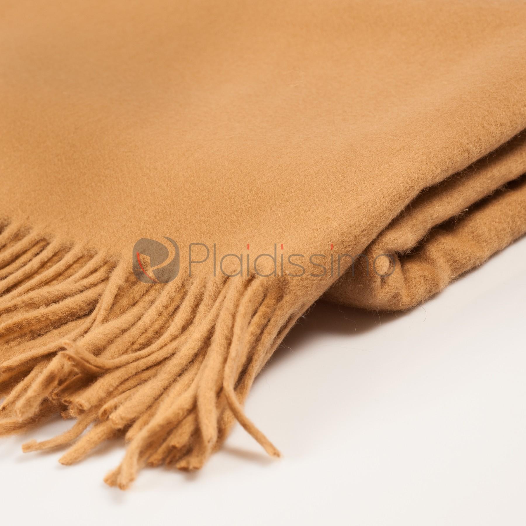 Plaid en Pure laine Vierge · Couleur Sable · Léger Doux   Elégant · Lake 3a6ca65517c