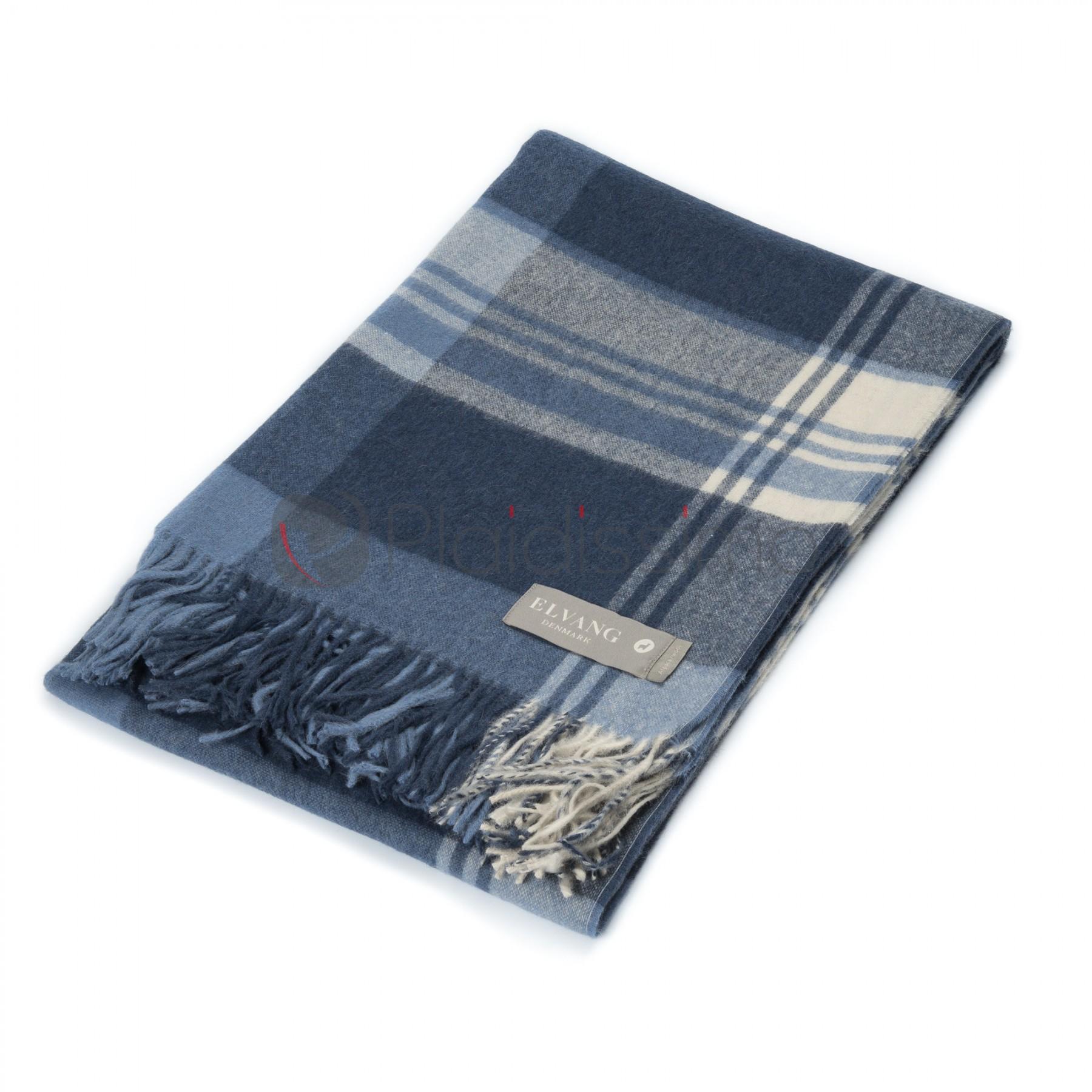 plaid en alpaga laine motif bleu carreaux cityscape delph. Black Bedroom Furniture Sets. Home Design Ideas