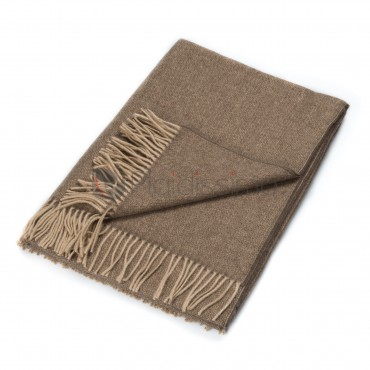 Plaid en Laine Vierge & Mohair Beige · Structuré & Moelleux · Wales Natural par Eagle Products