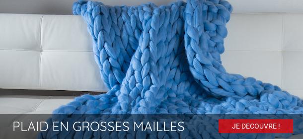 Plaid en Grosses Mailles Bleu - Plaidissimo